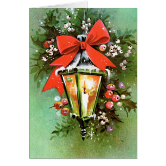 Vintage retro Christmas lamp customisable card