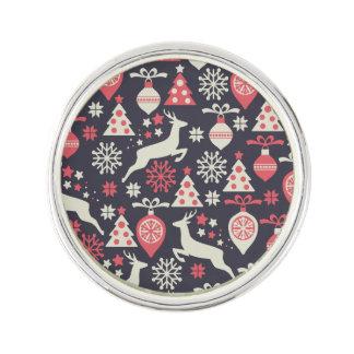Vintage Retro Christmas Pattern Holiday Lapel Pin