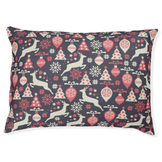 Vintage Retro Christmas Pattern Holiday Pet Bed