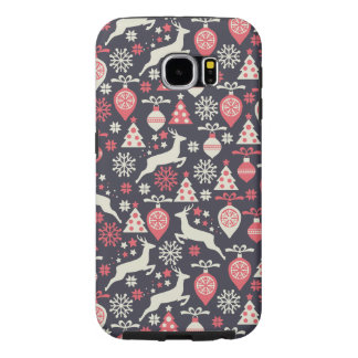 Vintage Retro Christmas Pattern Holiday Samsung Galaxy S6 Cases