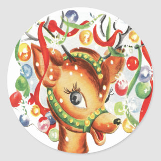 Vintage Retro Christmas Reindeer Confetti Classic Round Sticker