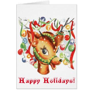 Vintage Retro Christmas Reindeer Confetti Greeting Card