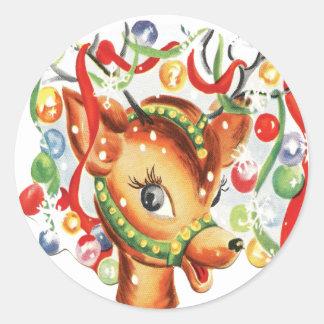 Vintage Retro Christmas Reindeer Confetti Round Sticker