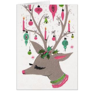 Vintage retro Christmas reindeer customizable card