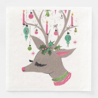 Vintage retro Christmas reindeer party napkins Paper Napkin