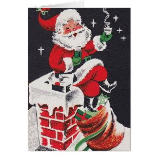 Vintage retro Christmas Santa add text card