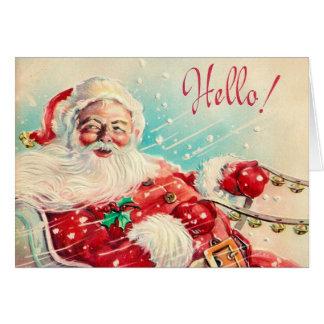 Vintage retro Christmas Santa customizable card