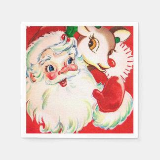 Vintage retro Christmas Santa reindeer napkins Paper Serviettes