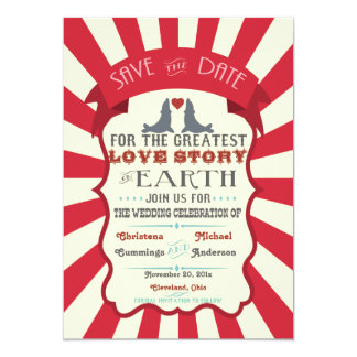 Vintage Retro Circus Save The Date Announcement