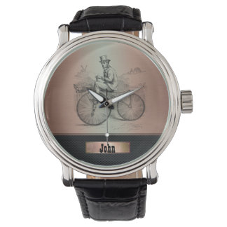 Vintage retro classy old bike personalized watch