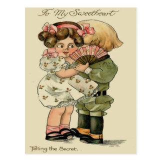 Vintage Retro Couple Telling Secret Valentine Card Postcard