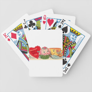 Vintage Retro Cupcake And Teacup Valentine's Day Bicycle Playing Cards
