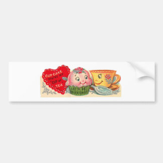 Vintage Retro Cupcake And Teacup Valentine's Day Bumper Sticker