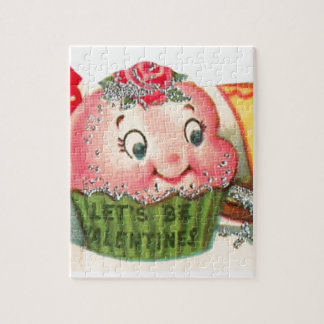 Vintage Retro Cupcake And Teacup Valentine's Day Jigsaw Puzzle