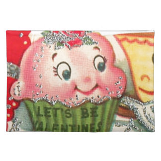 Vintage Retro Cupcake And Teacup Valentine's Day Placemat
