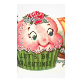 Vintage Retro Cupcake And Teacup Valentine's Day Stationery