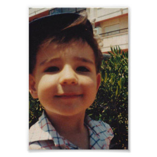 Vintage Retro Cute Boy Sweet Smiling Child Photo Poster