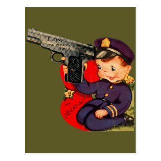 Vintage Retro Cute Police Officer Valentine Card