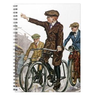 Vintage/Retro Cyclists Spiral Notebook