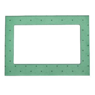 Vintage Retro Dark Green Dotted Design Magnetic Frame