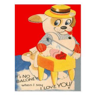 Vintage Retro Dog Cutting Baloney Valentine Card