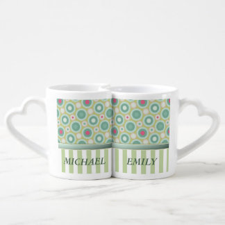 Vintage retro elegant abstract stripe / add name coffee mug set