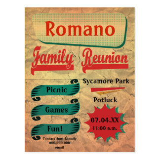 Vintage Retro Family Reunion Postcard