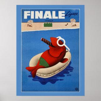 Vintage retro Finale cute fish Italian travel ad Print