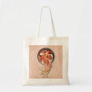 Vintage Retro Floral Art Nouveau Dancing Girl Tote Bag