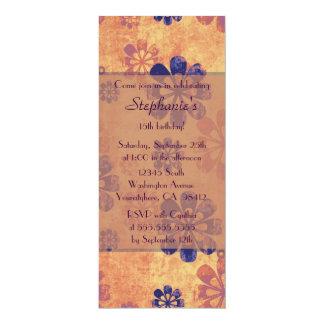 Vintage retro floral birthday party invitation