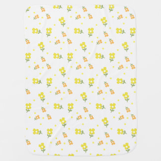 Vintage Retro Flowers and Yellow Dots Cute Baby Baby Blanket