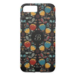 Vintage retro flowers floral blue, red, yellow iPhone 8 plus/7 plus case