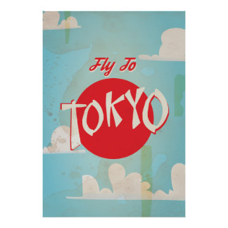 Vintage Retro Fly to Tokyo Travel Poster