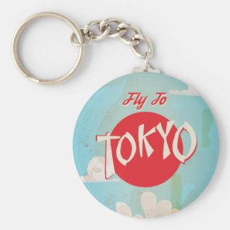 Vintage Retro Fly to Tokyo Travel Poster Key Ring