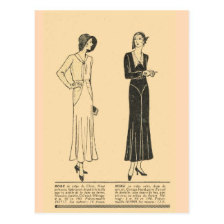 Vintage, retro French  fashion,  Day dresses, 1931 Postcard