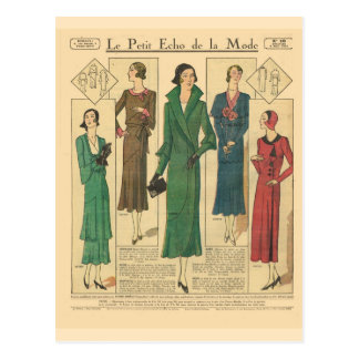 Vintage, retro French  fashion, Day wear 1931 Postcard