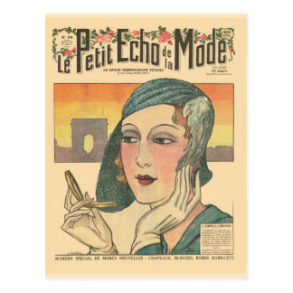 Vintage, retro French fashion, Echo de Monde cover Postcard