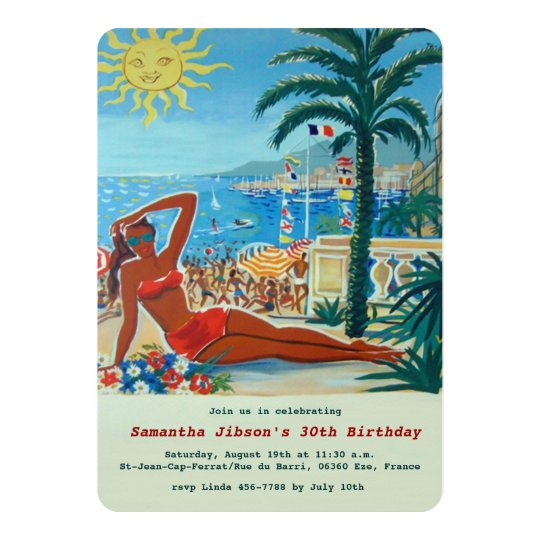Vintage Retro French Riviera Summer Party Invite