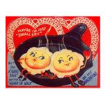Vintage Retro Fried Eggs Valentine Post Cards