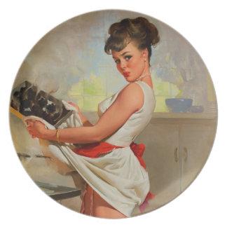 Vintage Retro Gil Elvgren Baker Pin Up Girl Party Plate