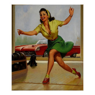 Vintage Retro Gil Elvgren Bowling pinup girl Poster