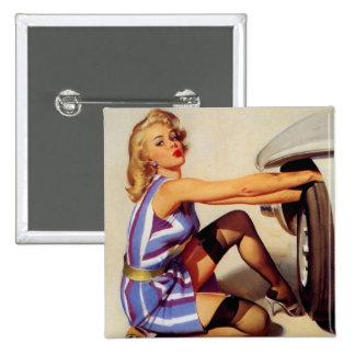 Vintage Retro Gil Elvgren Car Mechanic Pinup Girl 15 Cm Square Badge