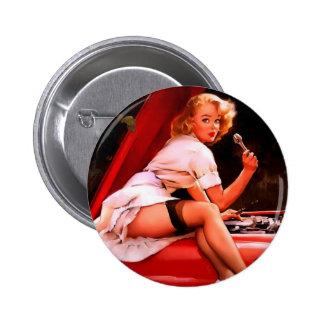 Vintage Retro Gil Elvgren Car Mechanic Pinup Girl 6 Cm Round Badge