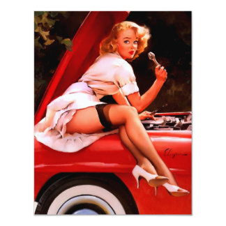 Vintage Retro Gil Elvgren Car Mechanic Pinup Girl Card