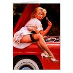 Vintage Retro Gil Elvgren Car Mechanic Pinup Girl Greeting Card
