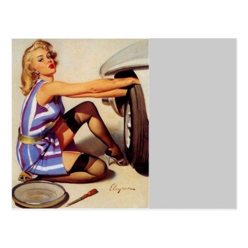 Vintage Retro Gil Elvgren Car Mechanic Pinup Girl Post Card