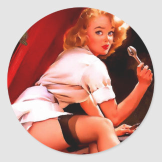 Vintage Retro Gil Elvgren Car Mechanic Pinup Girl Round Sticker
