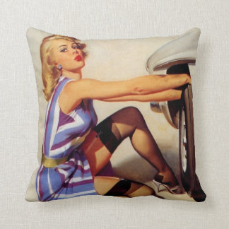 Vintage Retro Gil Elvgren Car Mechanic Pinup Girl Throw Pillow