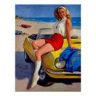 Vintage Retro Gil Elvgren Convertible Pin Up Girl Poster