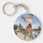 Vintage Retro Gil Elvgren Fishing Pinup Girl Key Ring